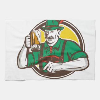 Oktoberfest Bavarian Beer Drinker Circle Retro Towel