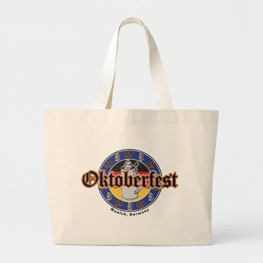 Oktoberfest Beer and Pretzels Large Tote Bag