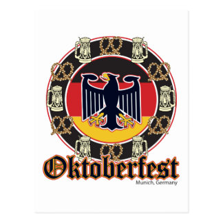 Oktoberfest Beer and Pretzels Postcard
