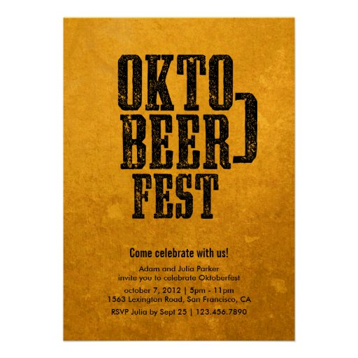 Oktoberfest Beer Drinking Gold Party Invitation (front side)