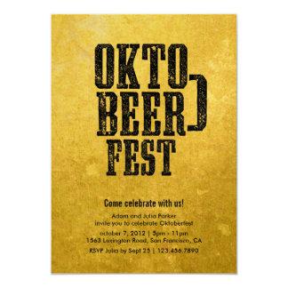 Oktoberfest Beer Drinking Gold Party Invitation