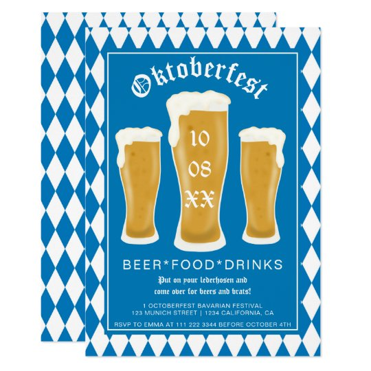 BLUE OKTOBERFEST GLASSES BAVARIA BLUE AND WHITE BEER FESTIVAL ACCESSORY GERMAN