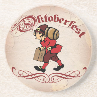 Oktoberfest Beer Man with Fall Leaves Coaster