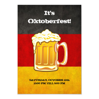 Oktoberfest Beer Party - Grunge Germany Flag 5x7 Paper Invitation Card