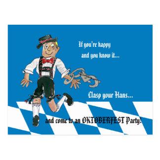 Oktoberfest Blue Party Invitation Postcard
