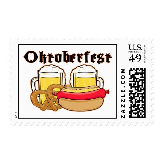 Oktoberfest Bratwurst & Beer Postage Stamp