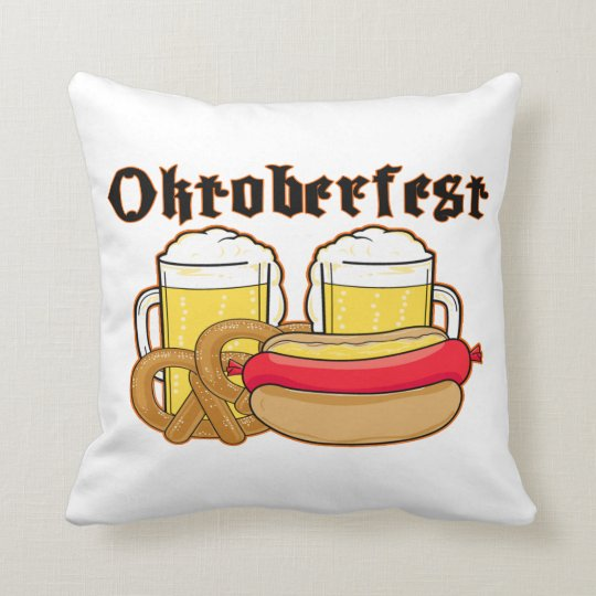Oktoberfest Bratwurst & Beer Throw Pillow