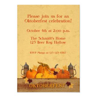 Oktoberfest, calabazas, Steins de la cerveza Invitación 12,7 X 17,8 Cm