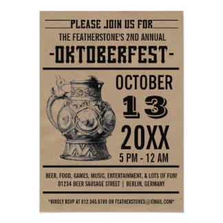 "Oktoberfest Celebration Party Invitations 5"" X 7"" Invitation Card"