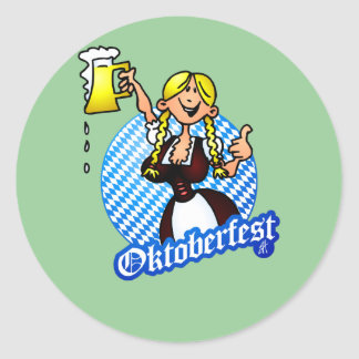 Oktoberfest - chica en un dirndl etiquetas redondas