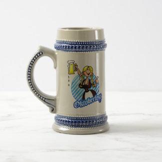Oktoberfest - chica en un dirndl jarra de cerveza