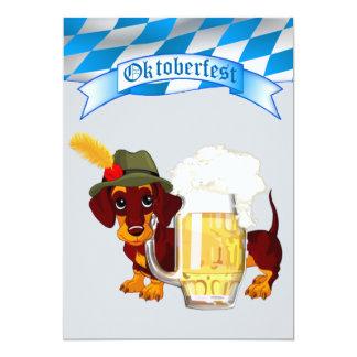 """Oktoberfest con Daschund y la cerveza Stein Invitación 5"""" X 7"""""""