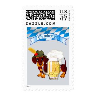 Oktoberfest con Daschund y la cerveza Stein Timbres Postales