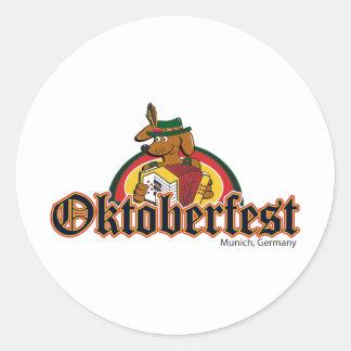OKTOBERFEST Dachshund Playing Accordian Classic Round Sticker