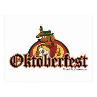 OKTOBERFEST Dachshund Playing Accordian Postcard