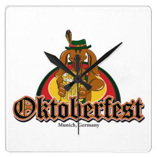 Oktoberfest Dachshund Square Wallclock