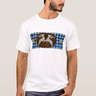 Oktoberfest - deer with gentian on blue white chec T-Shirt