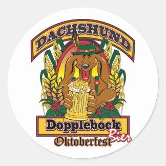 Oktoberfest Dopplebock Beer Dachshund Round Sticker