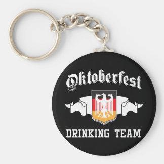 Oktoberfest drinking team basic round button keychain