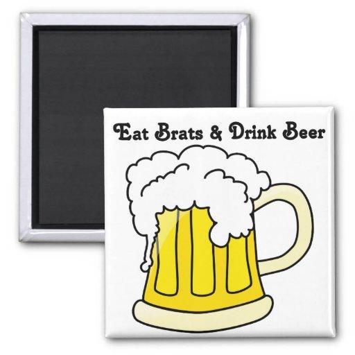 Oktoberfest Eat Brats & Drink Beer 1 2 Inch Square Magnet