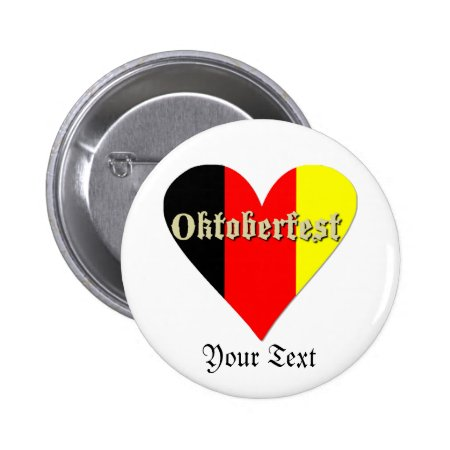 Oktoberfest Festival On Flag Heart Badge Button