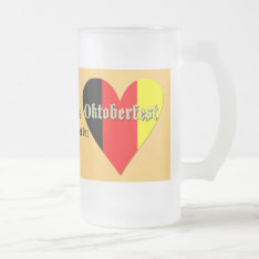 Oktoberfest Festival On Flag Heart Glass Frosted Glass Beer Mug at Zazzle
