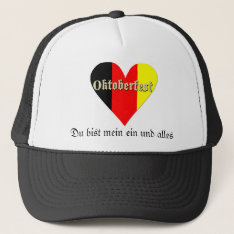 Oktoberfest Festival On Flag Heart Hat at Zazzle