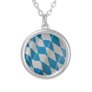 Oktoberfest Flag Colors Bavaria Bayern Round Pendant Necklace