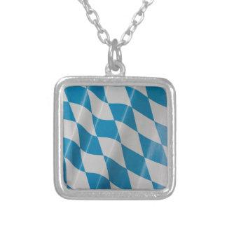 Oktoberfest Flag Colors Bavaria Bayern Square Pendant Necklace