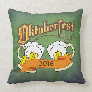 Oktoberfest German Festival Beer Steins Typography Pillow