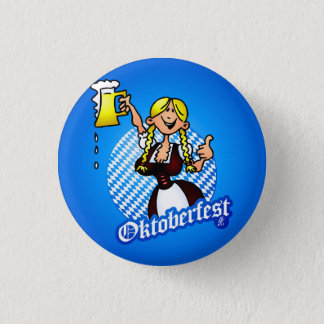 Oktoberfest - girl in a dirndl pinback button