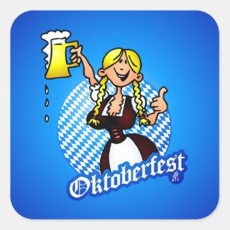 Oktoberfest - girl in a dirndl square sticker