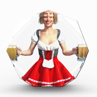 Oktoberfest Girl with Beer Steins Acrylic Award