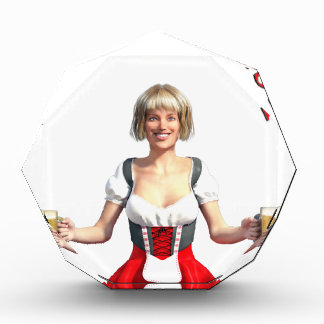 Oktoberfest Girl with Beer steins and Title Acrylic Award