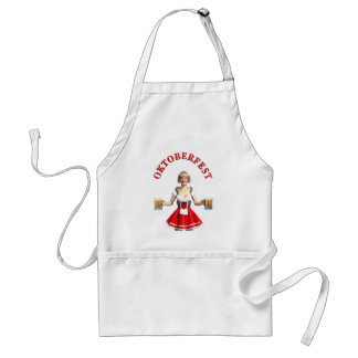 Oktoberfest Girl with Beer steins and Title Adult Apron