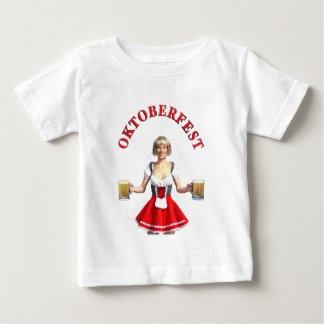 Oktoberfest Girl with Beer steins and Title Baby T-Shirt