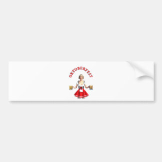 Oktoberfest Girl with Beer steins and Title Bumper Sticker