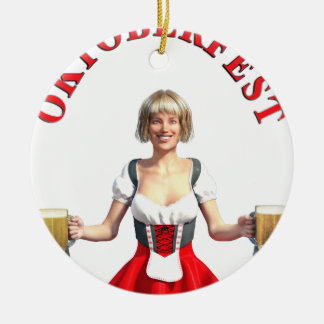 Oktoberfest Girl with Beer steins and Title Ceramic Ornament