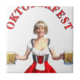 Oktoberfest Girl with Beer steins and Title Ceramic Tile