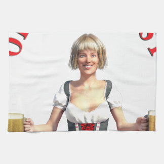 Oktoberfest Girl with Beer steins and Title Kitchen Towel