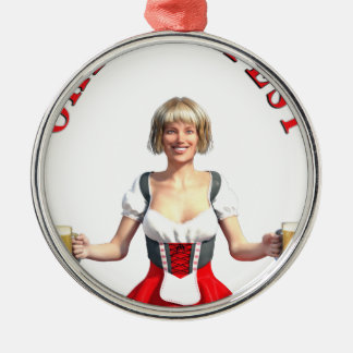 Oktoberfest Girl with Beer steins and Title Metal Ornament