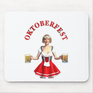Oktoberfest Girl with Beer steins and Title Mouse Pad