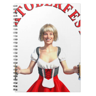 Oktoberfest Girl with Beer steins and Title Notebook