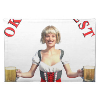 Oktoberfest Girl with Beer steins and Title Placemat