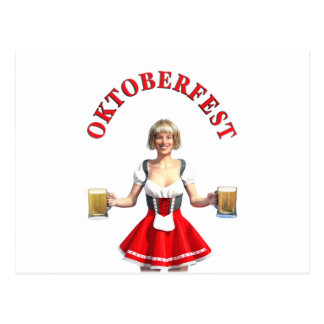 Oktoberfest Girl with Beer steins and Title Postcard