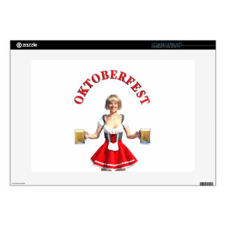Oktoberfest Girl with Beer steins and Title Skin For Laptop