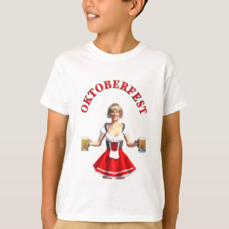Oktoberfest Girl with Beer steins and Title T-Shirt