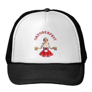 Oktoberfest Girl with Beer steins and Title Trucker Hat