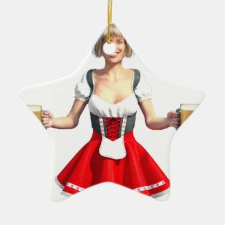 Oktoberfest Girl with Beer Steins Ceramic Ornament