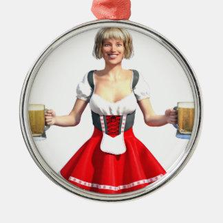 Oktoberfest Girl with Beer Steins Metal Ornament